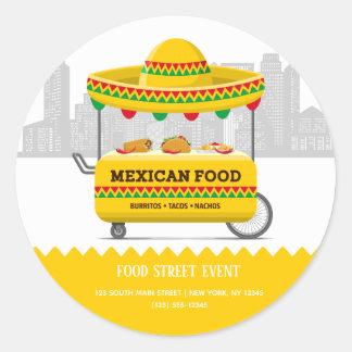 Adesivo Redondo Comida do mexicano da rua da comida