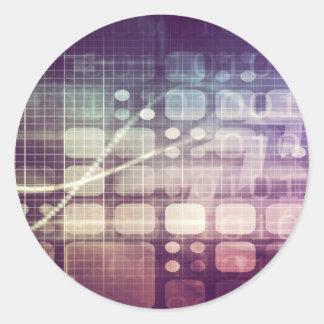 Adesivo Redondo Conceito abstrato futurista na tecnologia