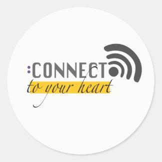 Adesivo Redondo Conecte a seus stikers do coração