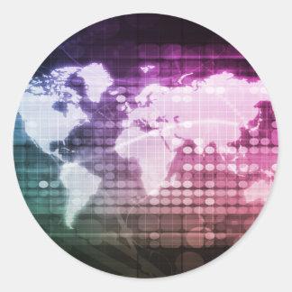 Adesivo Redondo Conexão de rede global e sistema integrado