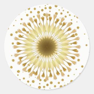 Adesivo Redondo Confetes do casamento do amarelo do ouro da flor
