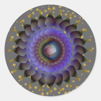 Adesivo Redondo Confetes pretos do ouro da flor de Lotus
