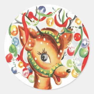 Adesivo Redondo Confetes retros da rena do Natal do vintage