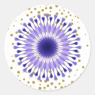 Adesivo Redondo Confetes roxos do ouro da flor de Lotus