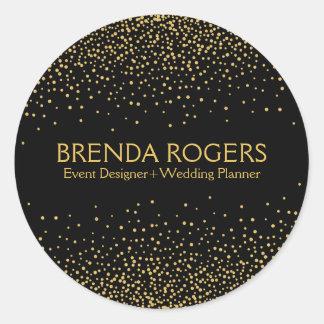 Adesivo Redondo Confetes Sparkling do ouro no fundo preto