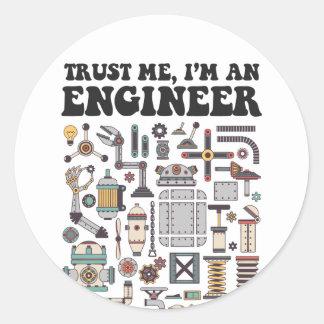 Adesivo Redondo Confie-me, mim são um engenheiro