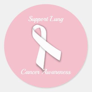 Adesivo Redondo Consciência do câncer pulmonar do apoio -
