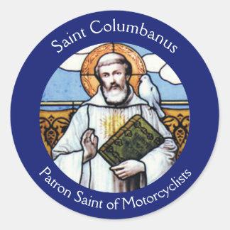 Adesivo Redondo Consumidor de Columbanus do santo dos motociclista