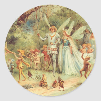 Adesivo Redondo Contos de fadas do vintage, Thumbelina e príncipe