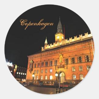 Adesivo Redondo Copenhaga, Dinamarca na noite