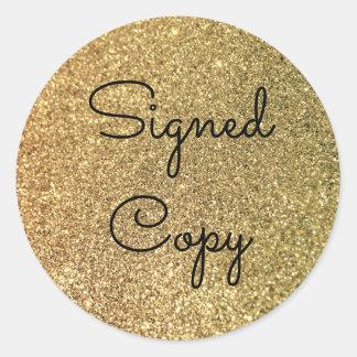 Adesivo Redondo Cópia assinada brilho do ouro