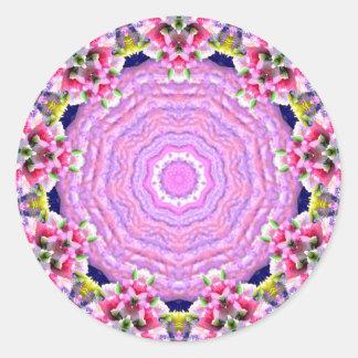 Adesivo Redondo ~ cor-de-rosa abstrato brilhante do teste padrão