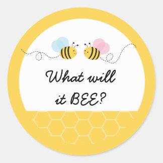 Adesivo Redondo Cor-de-rosa bonitos & o azul Bumble a abelha que o
