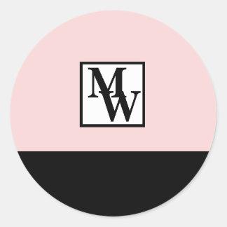 Adesivo Redondo Cora chique cor-de-rosa e preto o monograma
