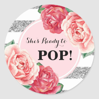 Adesivo Redondo Cora o chá de fraldas floral cor-de-rosa de prata