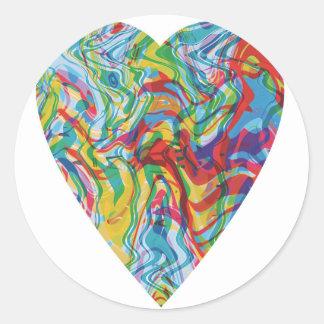 Adesivo Redondo Coração #2 da arte do pulso aleatório