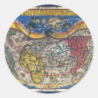 Adesivo Redondo Coração antigo mapa do mundo dado forma por Peter