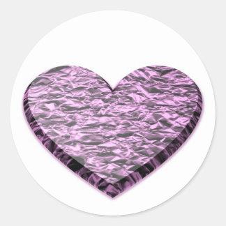Adesivo Redondo Coração cor-de-rosa da folha de alumínio