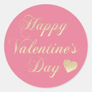 Adesivo Redondo Coração cor-de-rosa do brilho do ouro do feliz dia