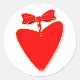 Adesivo Redondo Coração da fita