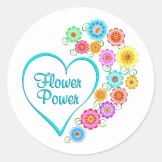 Adesivo Redondo Coração de flower power