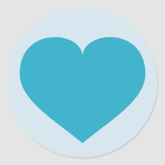 Adesivo Redondo Coração de turquesa