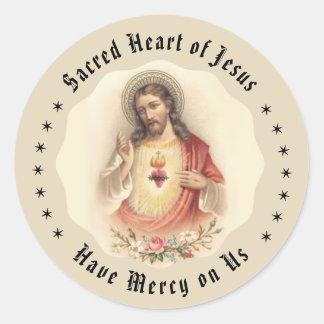 Adesivo Redondo Coração do vintage de Jesus com rosas florais