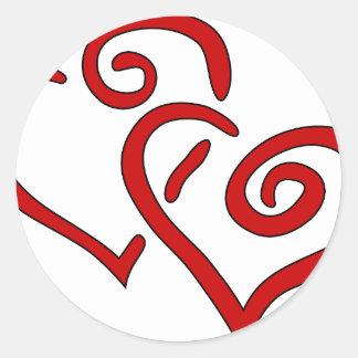 Adesivo Redondo Coração dobro vermelho