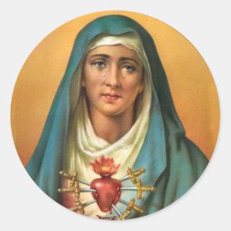 Adesivo Redondo Coração doloroso & imaculado da Virgem Maria