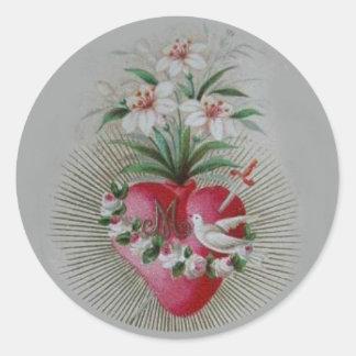 Adesivo Redondo Coração doloroso imaculado da Virgem Maria