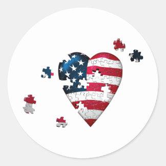 Adesivo Redondo Coração dos EUA