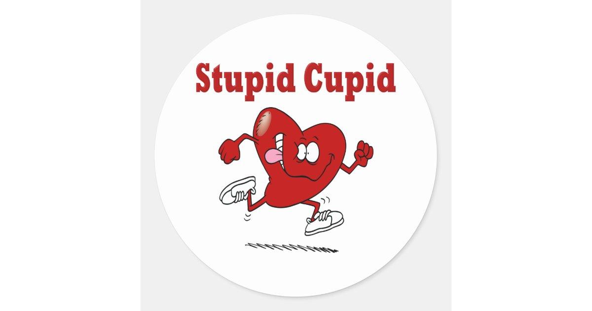 Adesivo De Unha Da Minnie Infantil ~ Adesivo Redondo Coraç u00e3o engraçado que funciona do Cupido Zazzle com br