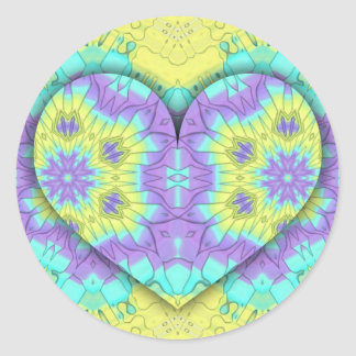 Adesivo Redondo Coração festivo vibrante do Pastel 3d dado forma