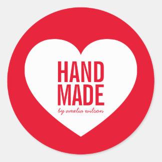 Adesivo Redondo Coração Handmade da cor editável moderna do fundo