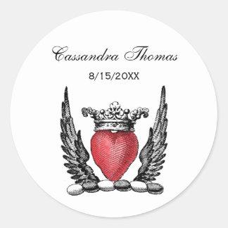 Adesivo Redondo Coração heráldico com crista da brasão das asas