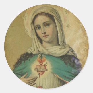 Adesivo Redondo Coração imaculado da mãe dolorosa de Mary