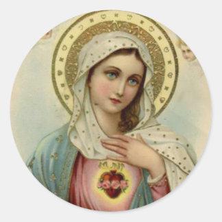 Adesivo Redondo Coração imaculado da Virgem Maria