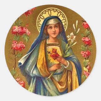 Adesivo Redondo Coração imaculado & doloroso do vintage de Mary