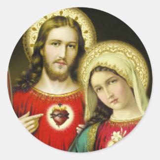 Adesivo Redondo Coração imaculado sagrado Jesus Mary