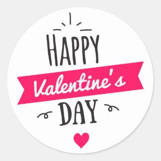 Adesivo Redondo Coração moderno do branco do rosa do feliz dia dos