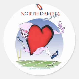 Adesivo Redondo coração principal de North Dakota, fernandes tony