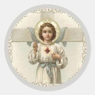 Adesivo Redondo Coração sagrado da criança Jesus com cruz