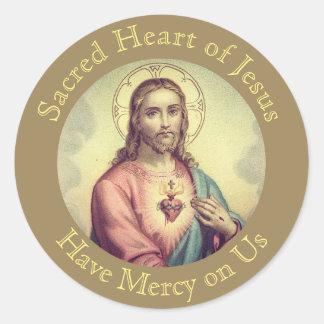 Adesivo Redondo Coração sagrado da oração de Jesus