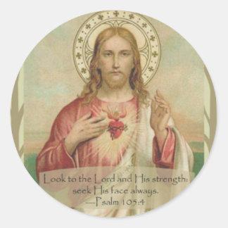 Adesivo Redondo Coração sagrado de citações da escritura de Jesus