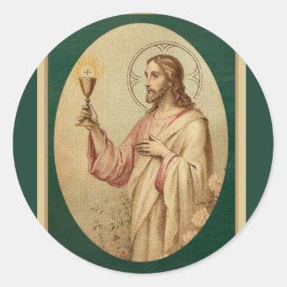 Adesivo Redondo Coração sagrado de Jesus com cálice & Eucaristia