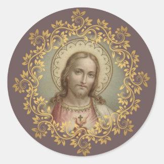 Adesivo Redondo Coração sagrado do vintage de Jesus