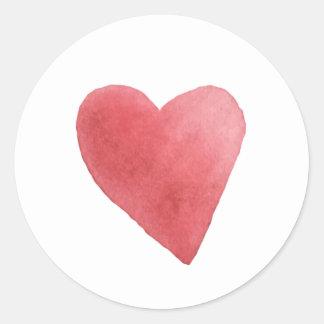 Adesivo Redondo Coração vermelho da aguarela bonito minimalista