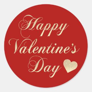 Adesivo Redondo Coração vermelho do brilho do ouro do feliz dia