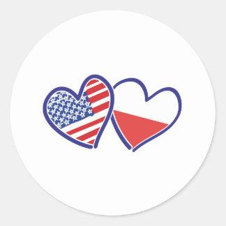 Adesivo Redondo Corações da bandeira do Polônia dos EUA