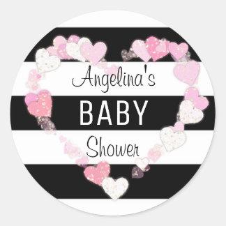 Adesivo Redondo Corações modernos na moda do rosa de bebê